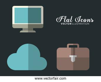 cloud, computer and suitcase icon. Office Instrument design. Vec