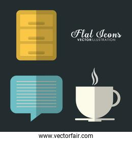 bubble and mug icon. Office Instrument design. Vector graphic