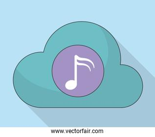 Cloud and Music note icon. Music online and Technology. Vector g