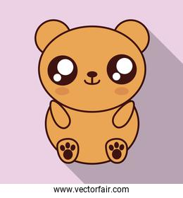 Kawaii bear con. Cute animal. Vector graphic
