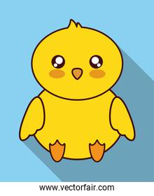 Kawaii chicken icon. Cute animal. Vector graphic