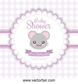 Kawaii mouse. Baby Shower design. Vector graphic