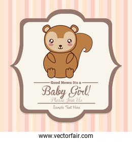 Baby Shower cards with squirrel and decoration