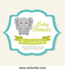 Kawaii elephant. Baby Shower design. Vector graphic
