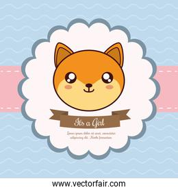 baby shower invitation and cute fox