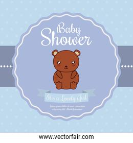 Kawaii bear. Baby Shower design. Vector graphic
