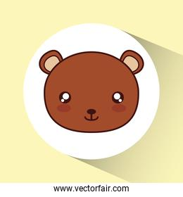 Kawaii bear icon. Cute animal. Vector graphic