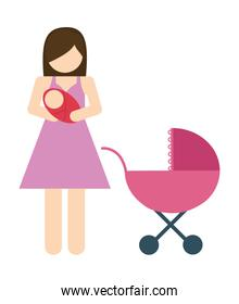 faceless mother and baby icon. Avatar Family design. Vector graphic