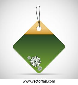 Tag with snowflake icon. Merry Christmas design. Vector graphic