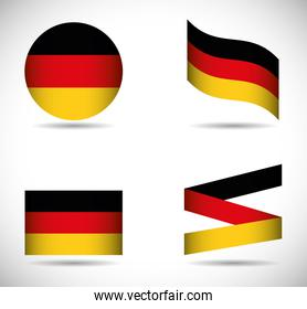 Flag icon set black red yellow. Germany. Vector graphic