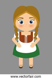 Girl cartoon costume traditional icon. Germany. Vector graphic