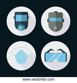Gas mask glasses icon. Vector graphic