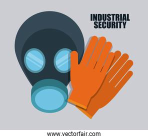 Gas mask and gloves icon. Vector graphic