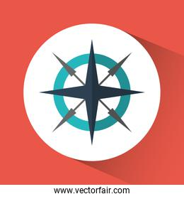 Compass travel instrument icon. Vector graphic