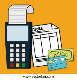 dataphone invoice payment icon. Vector graphic