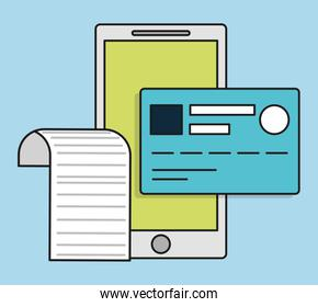 smartphone credit card invoice payment icon. Vector graphic