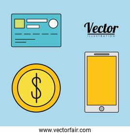 smartphone credit card coin invoice payment icon. Vector graphic