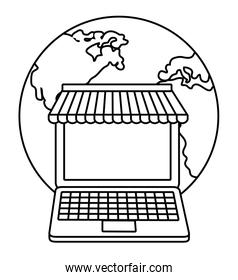 laptop planet shopping online icon. Vector graphic