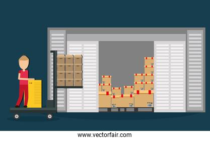 Box package man delivery shipping icon. Vector graphic
