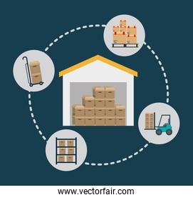 Box package delivery shipping icon. Vector graphic