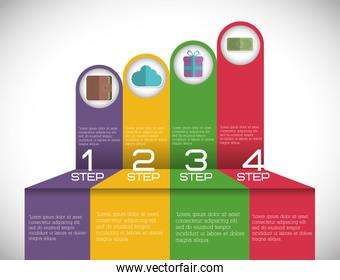 infographic step office icon. Vector graphic