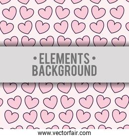 hearts background elements design