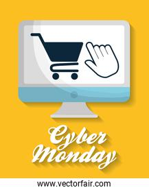Shopping cart computer and cyber monday design