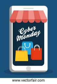 Shopping bag smartphone and cyber monday design