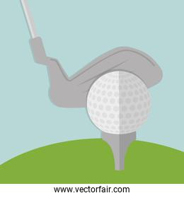 ball and club of golf sport design