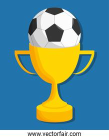 ball and trophy of soccer sport design