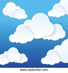 Blue and white background of clouds icon
