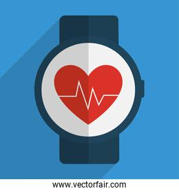 Heart with pulse inside clock of fitness concept
