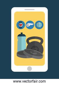 Smartphone and  fitness icon set design
