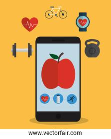 Smartphone device and fitness icon set design