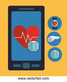Heart with pulse inside smartphone of fitness concept