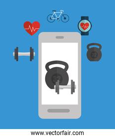 Smartphone and icon set. Fitness gym and bodybuilding theme