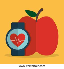 Heart with pulse inside clock and apple design