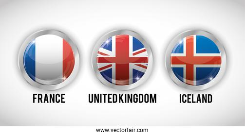 Isolated flags buttons of europe design