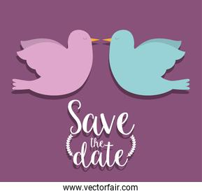 Save the date and couple of doves design