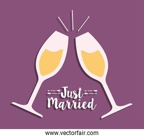 Cups of champagne and wedding design