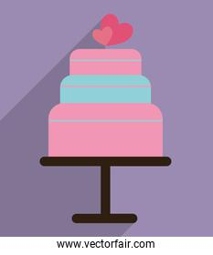 Cake with hearts of wedding and marriage design