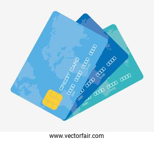 Payment with blue credit card design