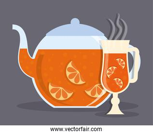 Kettle and glass of Tea drink design
