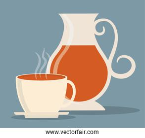 Kettle and cup of Tea drink design