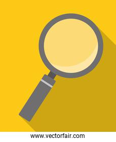 magnifying glass over yellow background icon image