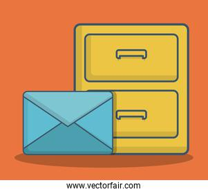 envelope and office drawers icon