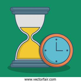 Hourglass and clock icon over green background