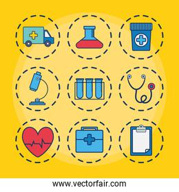 sthetoscope and medical related icons