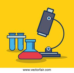 microscope and chemical flask icon