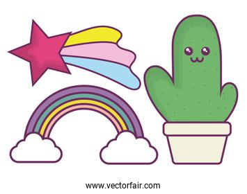 kawaii cactus and rainbow icon